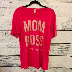 MOM BOSS AL DAY... PINK T-SHIRT LADIES SIZE LARGE